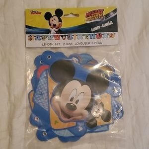 "MICKEY MOUSE BANNER THAT SAYS ""HAPPY BIRTHDAY"""